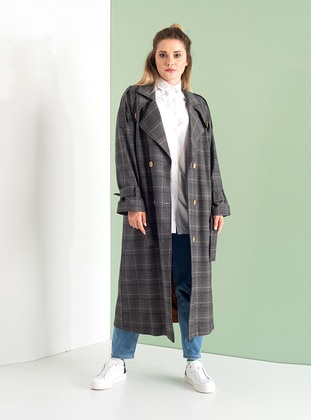 Multi - Plaid - Fully Lined - Shawl Collar - Cotton - Viscose - Trench Coat