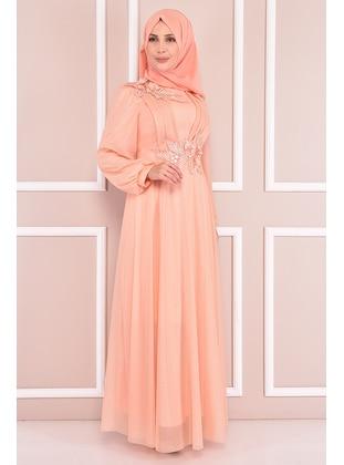 Salmon - Modest Evening Dress