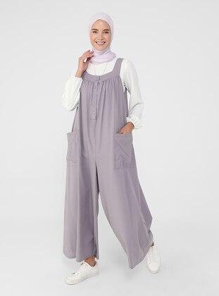 Purple - Unlined - Sweatheart Neckline - Jumpsuit