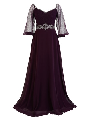 Purple - Fully Lined - Boat neck - Modest Evening Dress