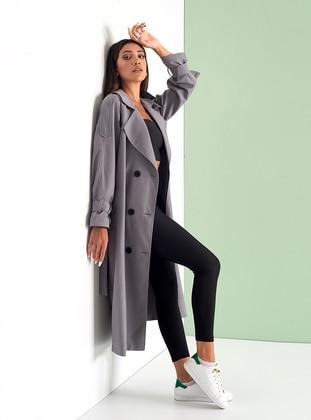 Smoke - Fully Lined - Shawl Collar - Cotton - Viscose - Trench Coat