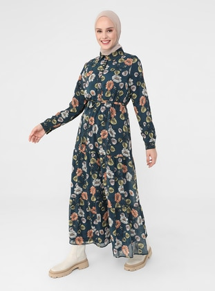 Petrol - Floral - Point Collar - Fully Lined - Modest Dress