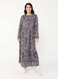 Lilac - Floral - Unlined - Crew neck - Plus Size Dress