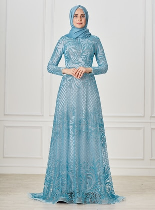 Turquoise - Multi - Fully Lined - Crew neck - Modest Evening Dress