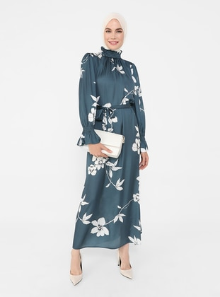 Blue - Floral - Lined Collar - Unlined - Modest Dress