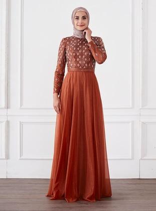 Cinnamon - Fully Lined - Crew neck - Modest Evening Dress