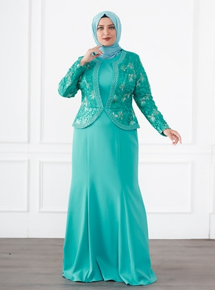 Green - Fully Lined - Crew neck - Modest Plus Size Evening Dress