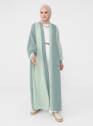 Green Almond - Mint - Unlined - Abaya