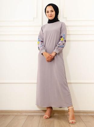 Gray - Crew neck - Modest Dress