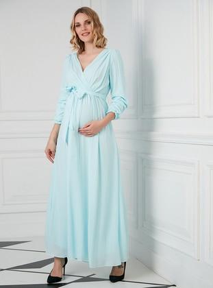 Baby Blue - V neck Collar - Fully Lined - Maternity Dress - Gör & Sin