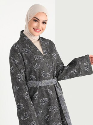 Multi - Jacquard - Unlined - V neck Collar - Cotton - Abaya