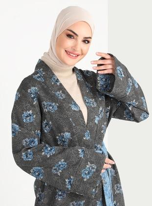 Saxe - Black - Jacquard - Unlined - V neck Collar - Cotton - Abaya