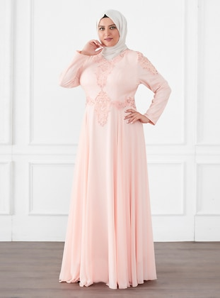 Salmon - Fully Lined - Crew neck - Modest Plus Size Evening Dress