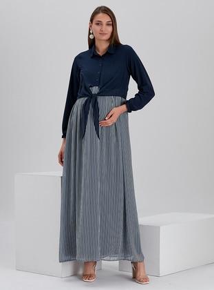 Navy Blue - Black - Stripe - Point Collar - Fully Lined - Maternity Dress