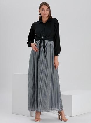 Black - Stripe - Point Collar - Fully Lined - Maternity Dress - Gör & Sin