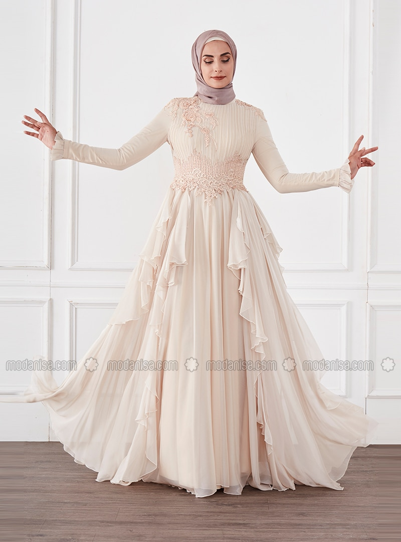 Gold - Fully Lined - Crew neck - Modest Evening Dress
