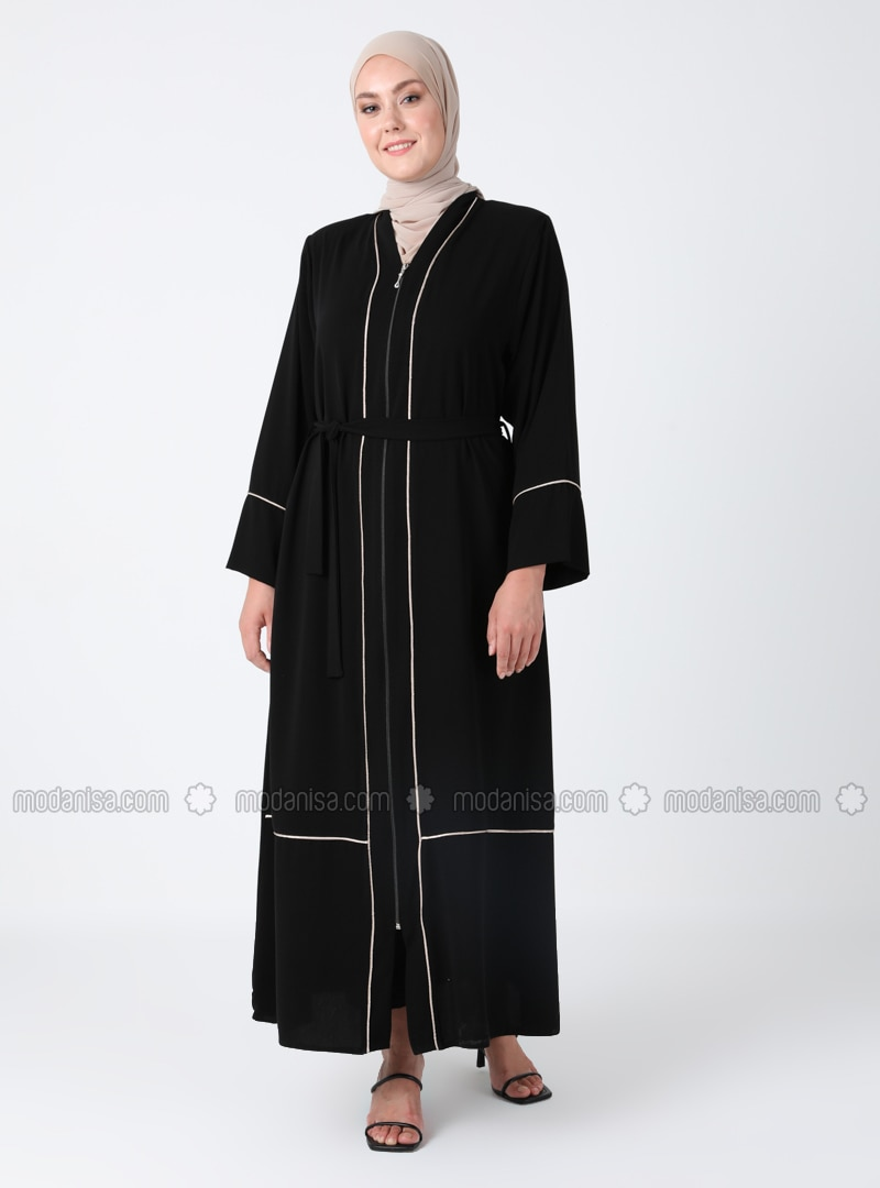 Black - Crew neck - Plus Size Abaya