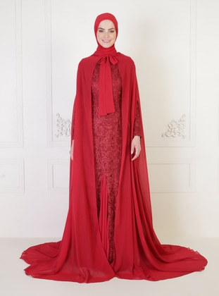 Maroon - Fully Lined - Round Collar - Modest Evening Dress