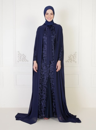 Navy Blue - Fully Lined - Round Collar - Modest Evening Dress