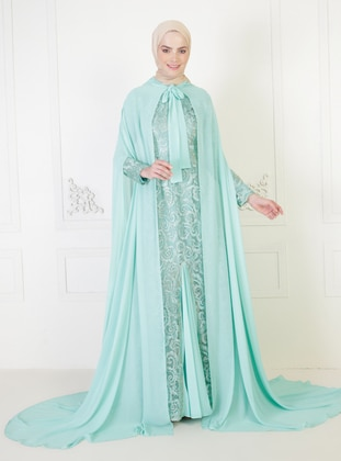 Green - Fully Lined - Round Collar - Modest Evening Dress