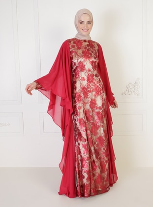 Maroon - Multi - Fully Lined - Crew neck - Modest Evening Dress