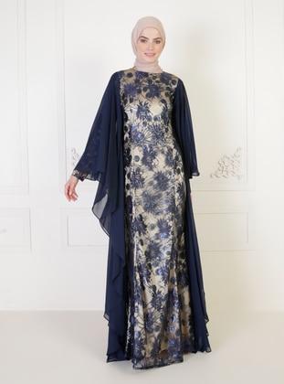 Navy Blue - Multi - Fully Lined - Crew neck - Modest Evening Dress