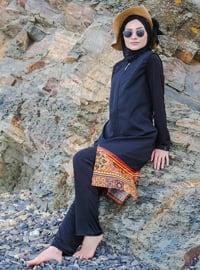 Black - Multi - Full Coverage Swimsuit Burkini