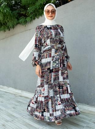Terra Cotta - Multi - Crew neck - Unlined - Modest Dress