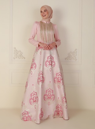 Pink - Fully Lined - Crew neck - Modest Evening Dress