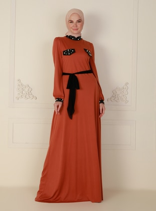 Tan - Fully Lined - Crew neck - Modest Evening Dress
