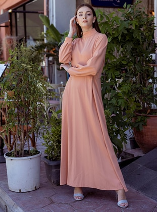 Salmon - Unlined - Polo neck - Modest Evening Dress