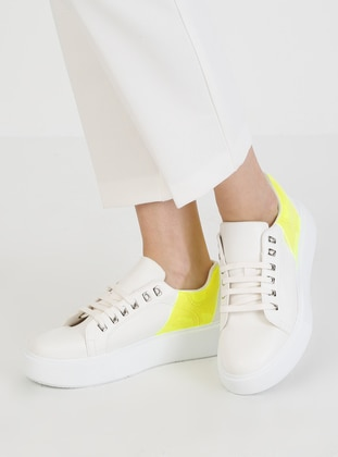 White - Yellow - Casual - Sports Shoes