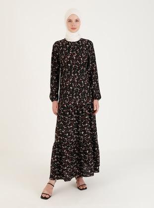 Black - Multi - Crew neck - Unlined - Modest Dress
