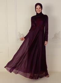 Purple - Unlined - Crew neck - Modest Evening Dress