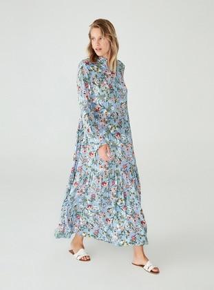 Blue - Floral - Polo neck - Unlined - Viscose - Modest Dress