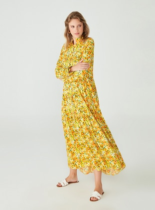 Yellow - Floral - Polo neck - Unlined - Viscose - Modest Dress