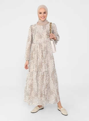 Cream - Multi - Crew neck - Fully Lined - Modest Dress