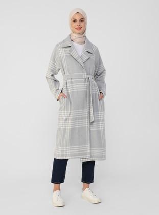 Gray - Plaid - Unlined - Shawl Collar - Coat