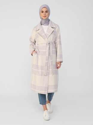 Lilac - Plaid - Unlined - Shawl Collar - Coat
