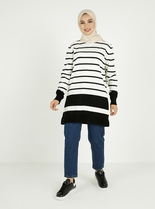 Ecru - Black - Stripe - Crew neck - Unlined - Knit Tunics