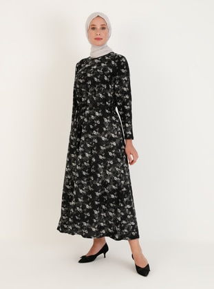Black - Multi - Unlined - Crew neck - Plus Size Dress