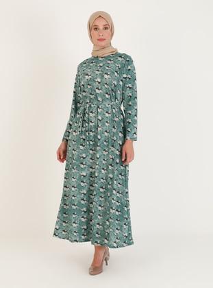 Green - Multi - Unlined - Crew neck - Plus Size Dress