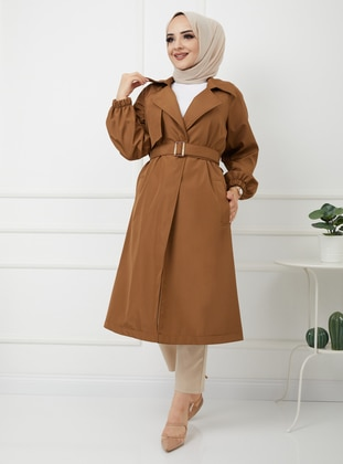 Brown - Stripe - Crew neck - Trench Coat