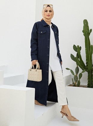 Navy Blue - Unlined - Point Collar - Denim - Cotton - Jacket