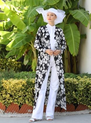 White - Black - Floral - Unlined - Jacket