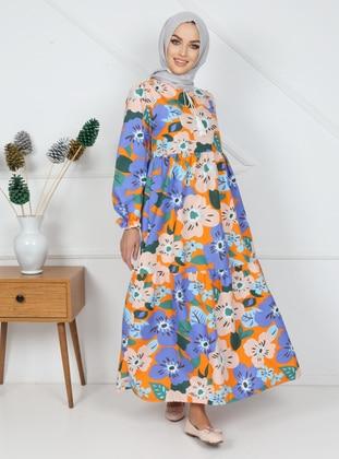 Blue - Orange - Multi - Polo neck - Unlined - Cotton - Modest Dress