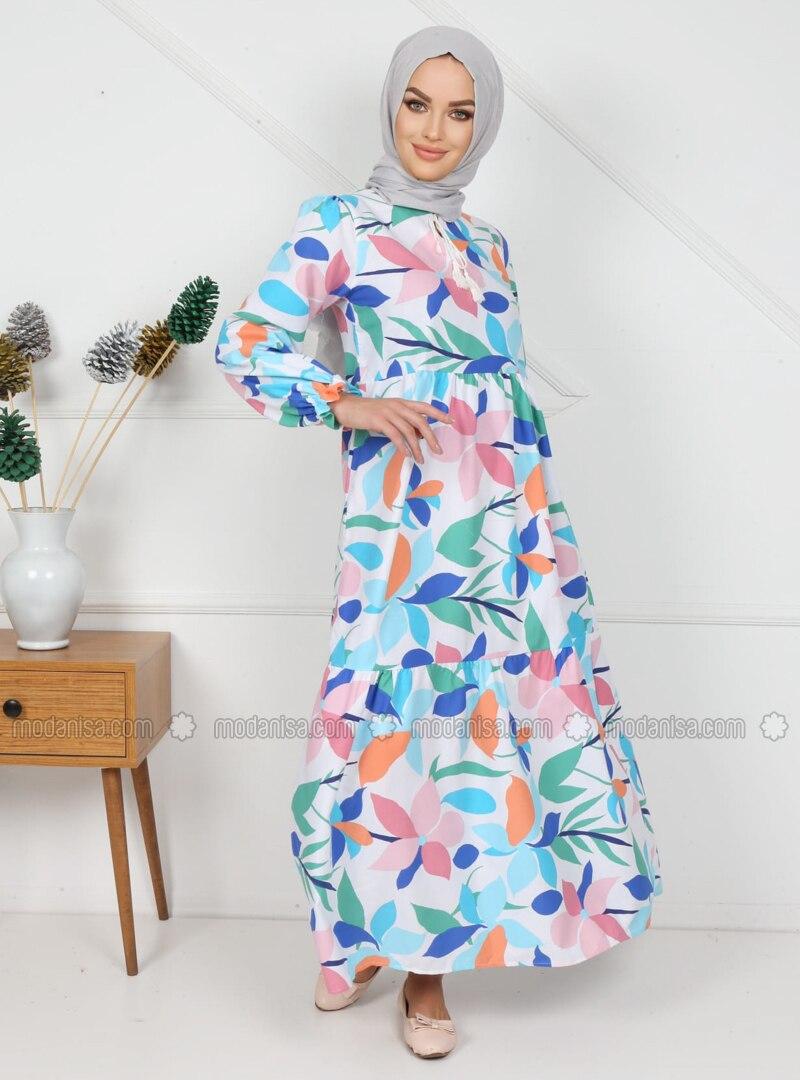 Blue - Salmon - Multi - Polo neck - Unlined - Cotton - Modest Dress