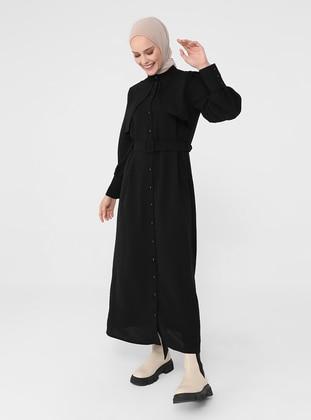 Black - Button Collar - Unlined - Modest Dress