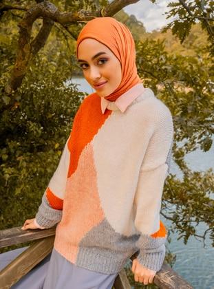 Orange - Multi - Unlined - Knit Tunics