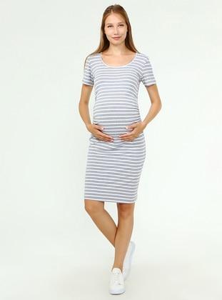 Gray - Stripe - Crew neck - Maternity Dress